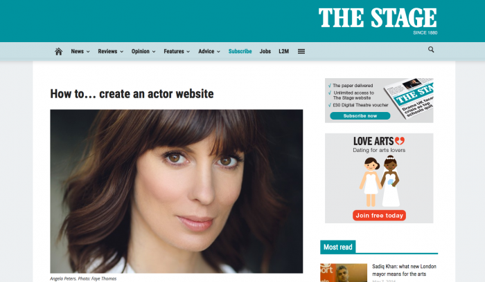 how to create an acting website